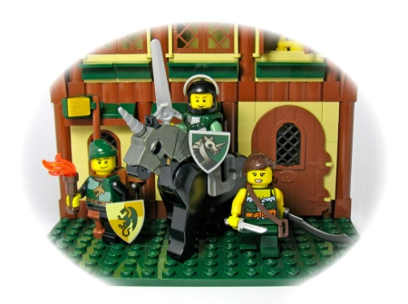 image of three lego knights