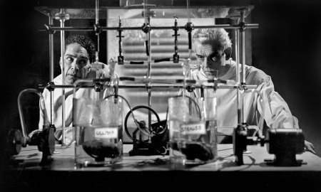 scientists and test tubes