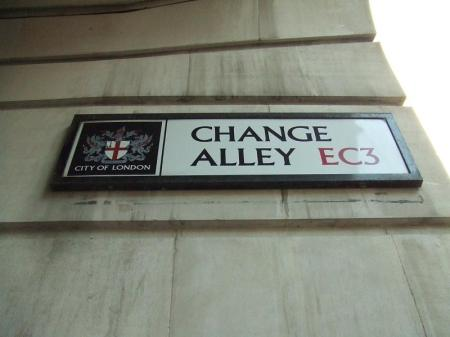 street sign for 'Change Alley'